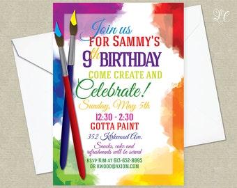 Art Birthday Invitation - Craft Birthday Invitation - Painting Birthday Invitation - Arts and Crafts Invitation