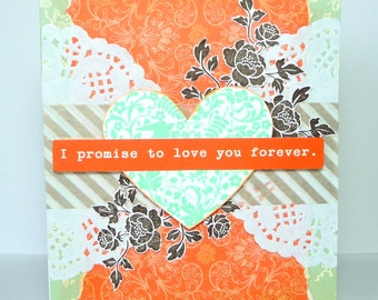 I Love You Greeting Card - Handmade Paper Card for Him or Her - Valentinte's Day, Anniversary, Birthday or Just Because