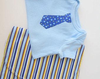 0 - 3 Mo Tie Baby Set - Blue Bodysuit with Red Polka Dots and Matching Stripe Burp Cloth SALE