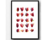Rose petals art print, Flower painting, red painting, floral watercolor painting, mother's day gift