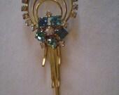 vintage Wreath  AQUAMARINE & RHINESTONE Brooch Pin FREE Domestic Shipping