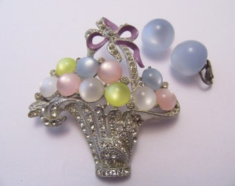 Brooch with Basket of Pastel colored Bubbles and Earrings