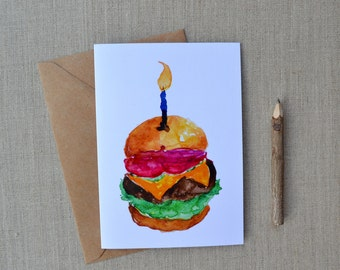 Happy Burg-Day! Hand-Painted Watercolor Birthday Greeting Card