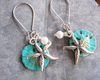 Silver Starfish Earrings, Turquoise Blue Sand Dollar, Silver Dangle Earrings, Pearls, Bridesmaid Gift, Beach Wedding