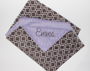 Gray Trellis PERSONALIZED DOUBLE MINKY Blanket or Lovey - Lavender