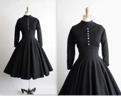 50's Wool Dress // Vintage 1950's Jonathan Logan Black Wool Full Nipped Waist New Look Dress M