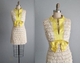 STOREWIDE SALE 60's Mini Dress // Vintage 1960's Ruffled Lace Cocktail Party Mod Mini Dress XS