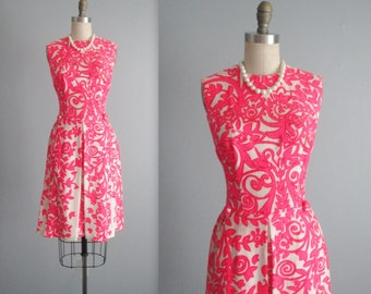 60's Shift Dress // Vintage 1960's Pink Floral Print Linen Shift Day Dress S