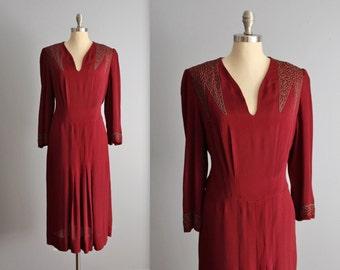 30's Soutache Dress // Vintage 1930's Burgundy Soutache Rayon Evening Dress XL