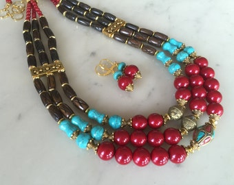 RED CHERRY-cascade statement necklace set, chunky, earrings set, carved african beads, red, blue turquoise, big, bold, ethnic