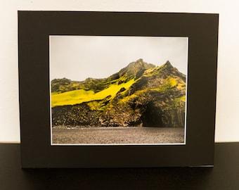 8x10 photo print matted to 11x14 Iceland - Vik black sand beach