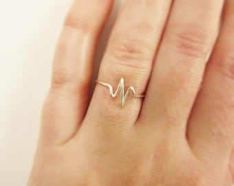 Heartbeat Ring, Sterling Silver or Gold Wire Wrap Ring, EKG, Pulse, Nurse Gift Doctor Gift, Bride Girlfriend Gifts, Jewelry Gifts Under 10