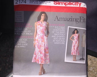Simplicity 2174 Sizes 16-24 Plus Amazing Fit Custom Cup Dress