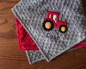 Tractor Personalize Minky Baby Blanket - Tractor Applique - Choice of Colors