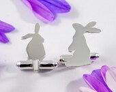 Silver Rabbit cufflinks: A pair of  bunny rabbit shaped sterling silver cufflinks.