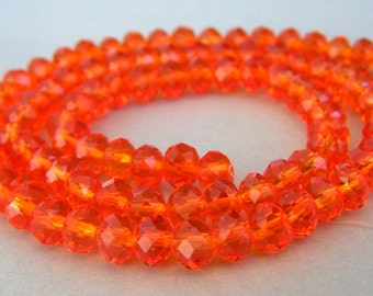 32 orange 6mm Chinese crystal beads, sparkly rondelles, 6mm x 4mm, fire opal 6mm orange crystal rondelles