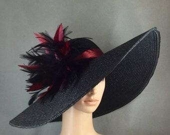 Burgundy & Black Kentucky Derby Hat, Fascinator