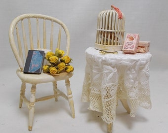 Dolls house Miniature Filled French style garden Table and Chair Set