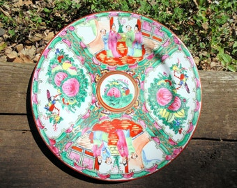oriental porcelain plate hand decorated mid century hong kong 10 inches P.C.T.