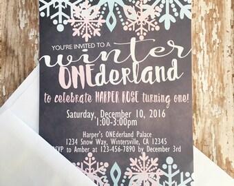 12 winter onederland invitations, first birthday onederland invites, chalkboard birthday invite, winter snowflake first birthday invite