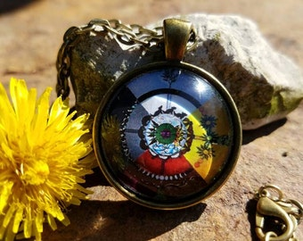 Medicine Wheel Pendant Necklace (bronze finish)