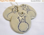 ON SALE 5 Ceramic Snowlove Christmas Ornament or Gift Tag