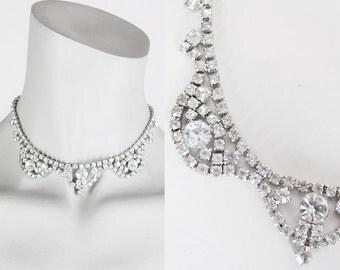 Vintage 50s Necklace / 1950s Chunky Rhinestone Scalloped Statement Choker