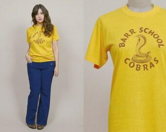 70s T Shirt Mustard Yellow Cobras 1970s Tee Snake Shirt Super Soft Thin Unisex Novelty / Size M Medium