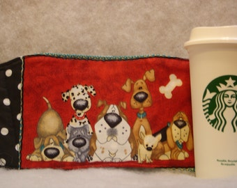 Arti REVERSIBLE Coffee Cup Sleeve, For STARBUCKS To-Go Cups /Cartoon DOGS with Pocket