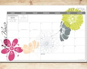 2017-2018 Digital Printable DIY Custom Desk Calendar, Desk Pad, Blotter Calendar - Cascading Flowers, Choose Your Dates