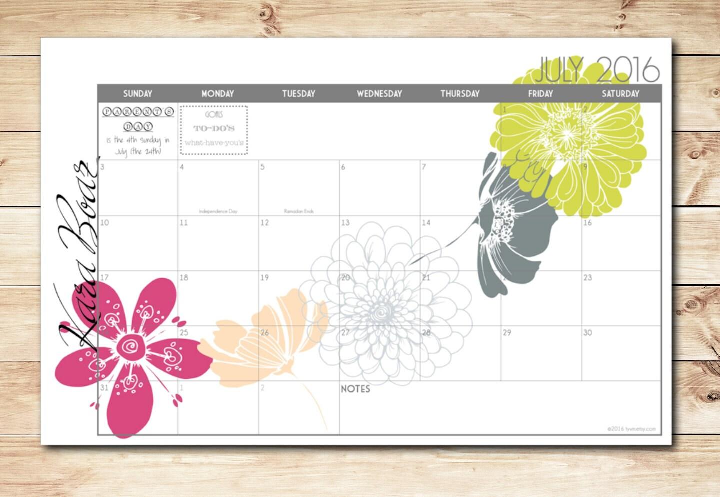 2017 2018 Digital Printable Diy Custom Desk Calendar Desk