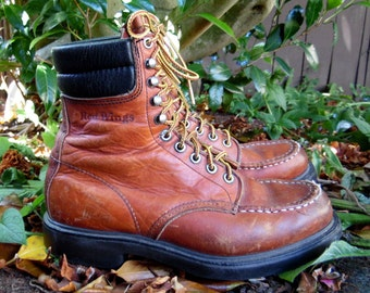Vintage Redwing Brown Leather Lace Up Hiking Work Boots Mens 8 9