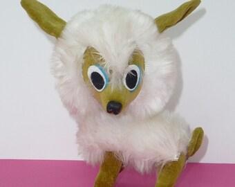 """Vintage Kamar Green Dog w/White Fur Made in Japan 1967 Stuffed Animal 5 1/2"""""""