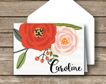 Personalized Fold Over Note Cards-Personalized Stationery-Watercolor Floral Stationery-Note Cards