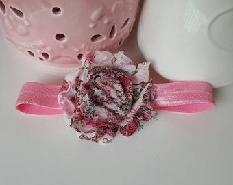 Pink Floral Shabby Chic Headband, baby headband, infant headband, baby girl headband, flower headband, flower bow, baby bow