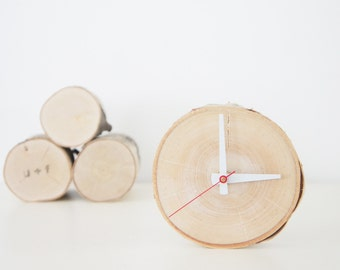natural white birch forest wood clock - unwind and relax, rustic wall clock, wood slice clock, simple modern clock