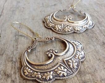 Antique Brass Flamenco Dancer Earrings, Gypsy Earrings, Boho Earrings, Ethnic Earrings, Exotic Earrings, Bohemian Earrings, Bohemian Jewelry