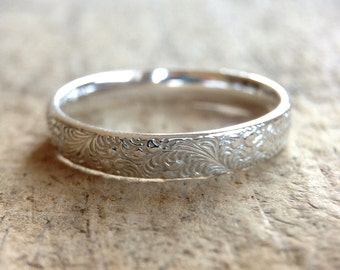 Silver Flower Ring, Floral Band, Swirl Ring, Swirl Pattern, Sterling Silver Ring, Sterling Stack Ring, Silver Band, Romantic Boho Ring