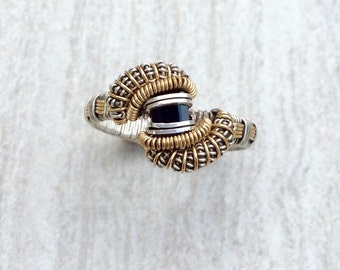 Magnificent Black Spinel Wire Wrap Ring || Silver and Gold Black Spinel Ring || Wire Wrapped Ring || Black Spinel Statement Ring