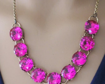 Gold Necklace - Statement Necklace - Hot Pink Necklace - Rhinestone Necklace - Gold Necklace - Layering Necklace - handmade jewelry