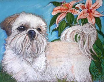 Shih Tzu painting art dog lily Original oil Pastel Painting Dog Art shih tzu lily