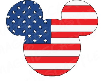 VINYL DecaL - DIY Iron On - USA Flag Mickey