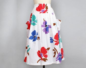 Floral Midi Skirt S/M • Cotton Midi Skirt with Pockets • 80s Skirt • Floral Cotton Skirt • Full Midi Skirt • Elastic Waist Skirt | SK591