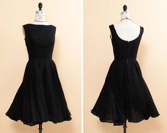 Black Flutter Dress S • 50s Black Dress • Twirly Dress • High Neck Dress • Low Back Little Black Dress • Black Bridesmaid Dress | D744