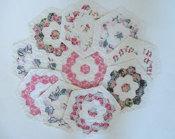 Vintage Hand Pieced Quilt Blocks - 10 in Lot - Hexagon Shape - Sewing - Quilting - Shabby, Cottage Decor - Pink, Gray, Red, Green Floral