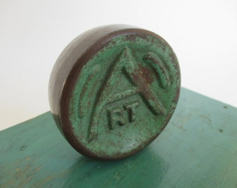 """Vintage Cast Iron Shuffleboard Puck Game Piece - """"Art"""" Name - Paperweight - Studio Decor - Eclectic Decor - Game Room Decor"""