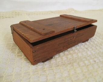 Vintage Wooden Chocolate Box - California Famous Chocolate Shop Chocolates - Los Angeles - Bakery Decor - Redwood Box