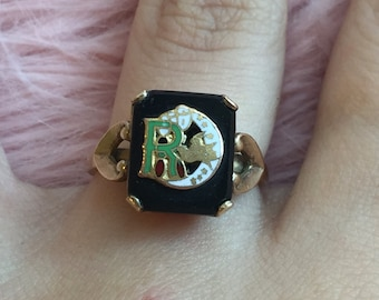 Vintage Gold Filled 10k Black Onyx R Initial Moon Dove Ring size 6 3/4