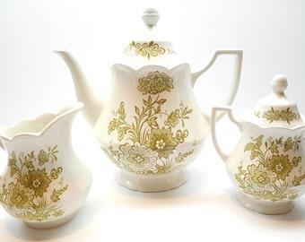 Vintage Tea Set Royal Staffordshire - Hathaway Ironstone by J&G Meakin  England