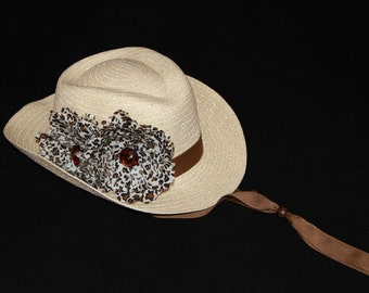 Girls Cowgirl Hat -  Natural Cream Hat- Brown Animal Print - Girls Cowboy Hat - Western Girls Hat - Party Favor - Girls - Style CB1606